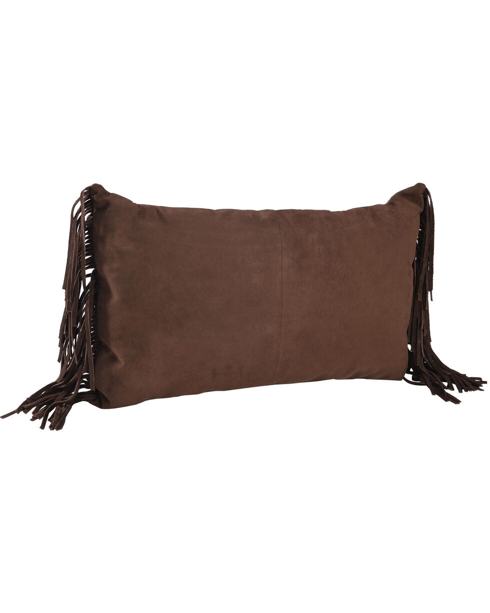 BB Ranch Fringe Leather Throw Pillow, No Color, hi-res