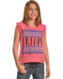 Derek Heart Girls' Pink Crochet Lace Flutter Sleeve Hi Lo Top with Puff Print, , hi-res