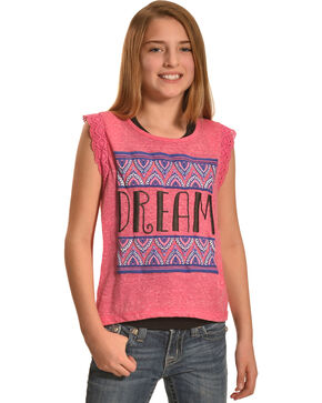 Derek Heart Girls' Pink Crochet Lace Flutter Sleeve Hi Lo Top with Puff Print, Pink, hi-res