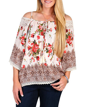 Angie Women's Floral Cold Shoulder Top, Ivory, hi-res