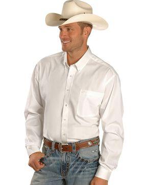 Cinch Men's Solid Long Sleeve Western Shirt, White, hi-res