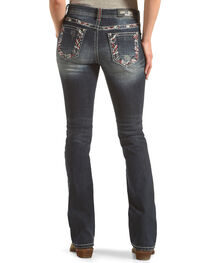 Grace in LA Women's Blue Abstract Embroidered Jeans - Boot Cut , , hi-res