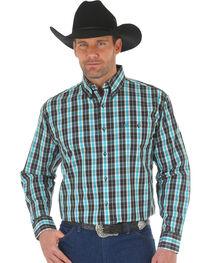 Wrangler Men's Black Classic Plaid Western Shirt - Big and Tall , , hi-res
