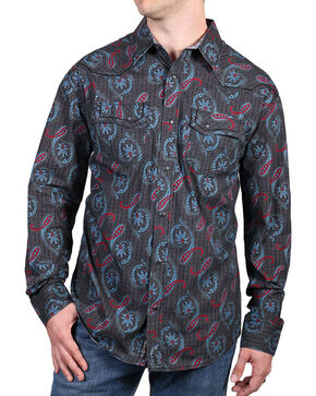 Moonshine Spirit® Men's Lafayette Paisley Long Sleeve Shirt, Black, hi-res