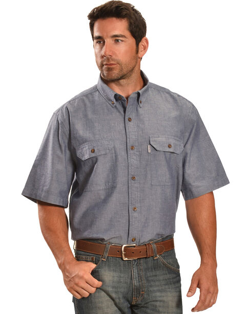 Carhartt Men's Short Sleeve Chambray Shirt, Blue, hi-res