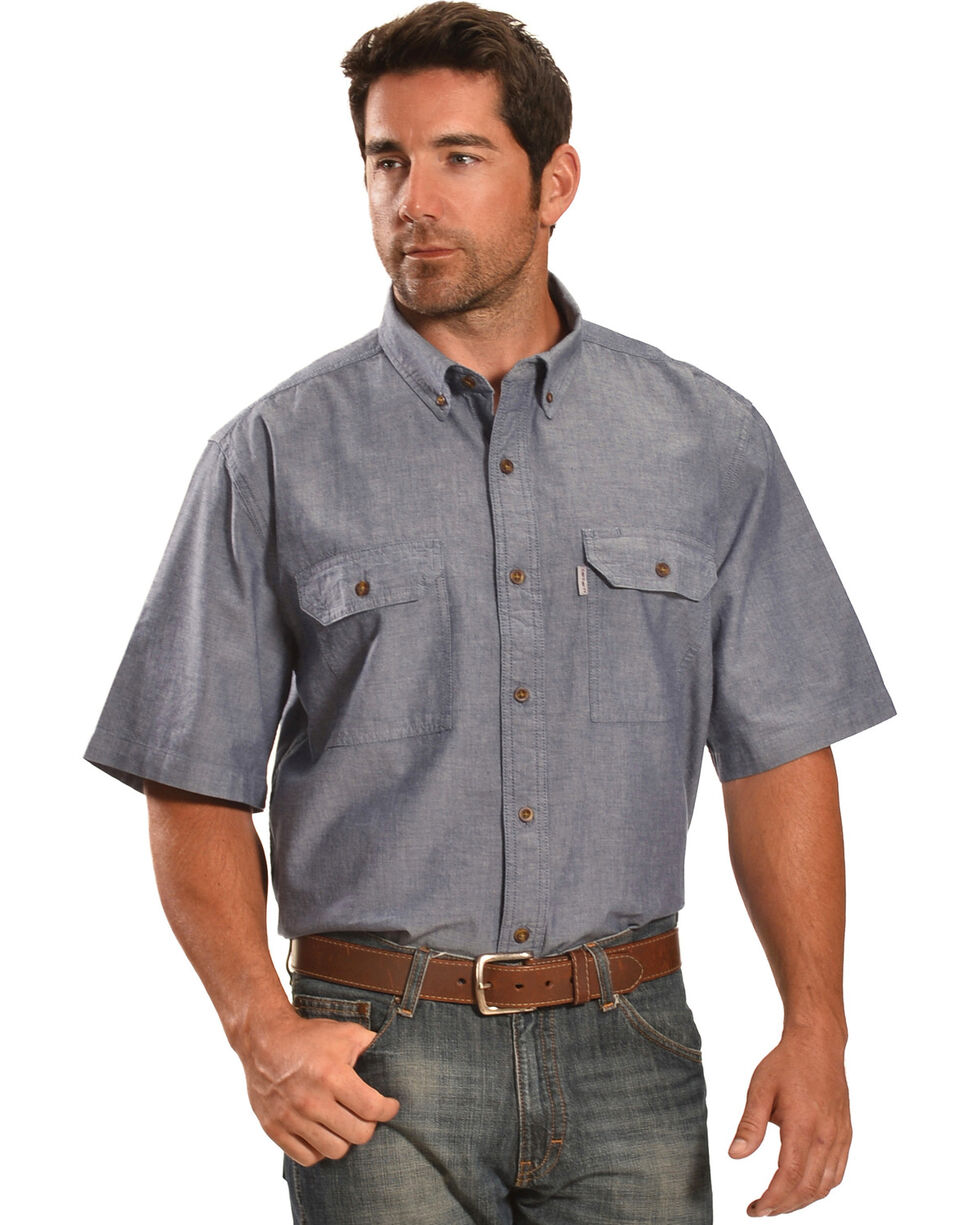 Carhartt Men's Short Sleeve Chambray Shirt, Blue, hi-res