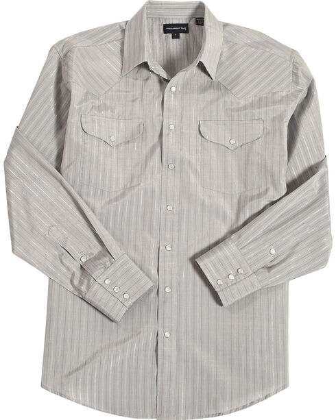 Panhandle Men's Grey Striped Print Western Shirt , , hi-res
