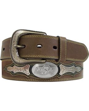 Oklahoma State University Concho Overlay College Belt, Brown, hi-res