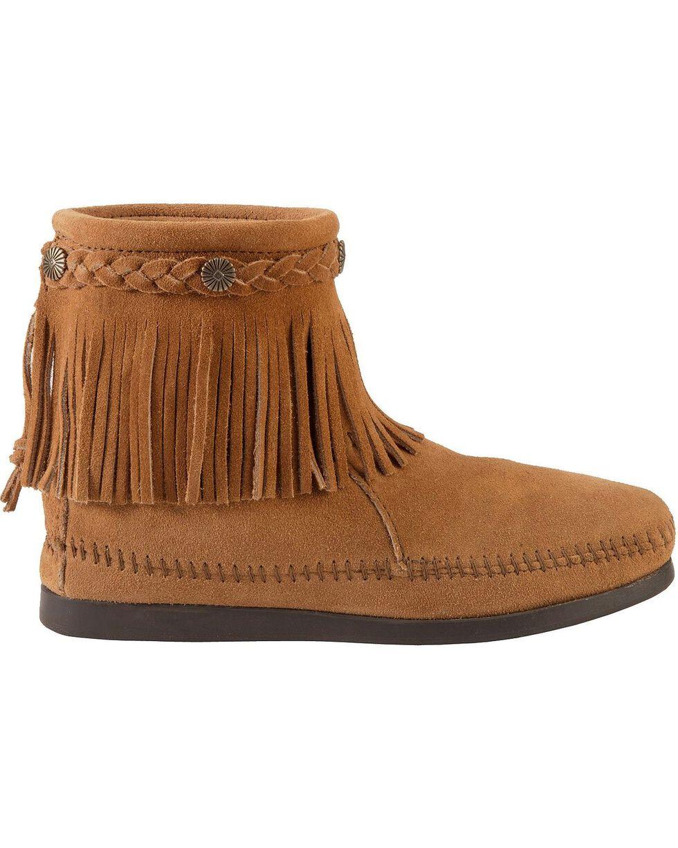 Minnetonka Women's Hi Top Back Zip Boots, Taupe, hi-res