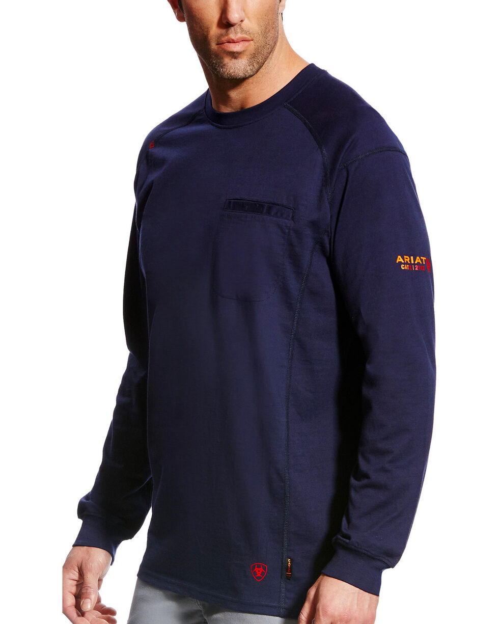 Ariat Men's FR Air Crew Long Sleeve Shirt, Navy, hi-res