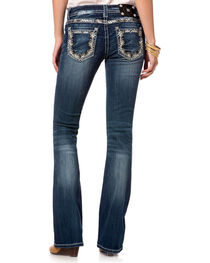 Miss Me Women's Blue Floral Embroidered Jeans - Boot Cut , , hi-res