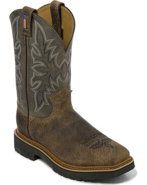 Justin Men's Scottsbluff Steel Toe Western Work Boots, Brown, hi-res