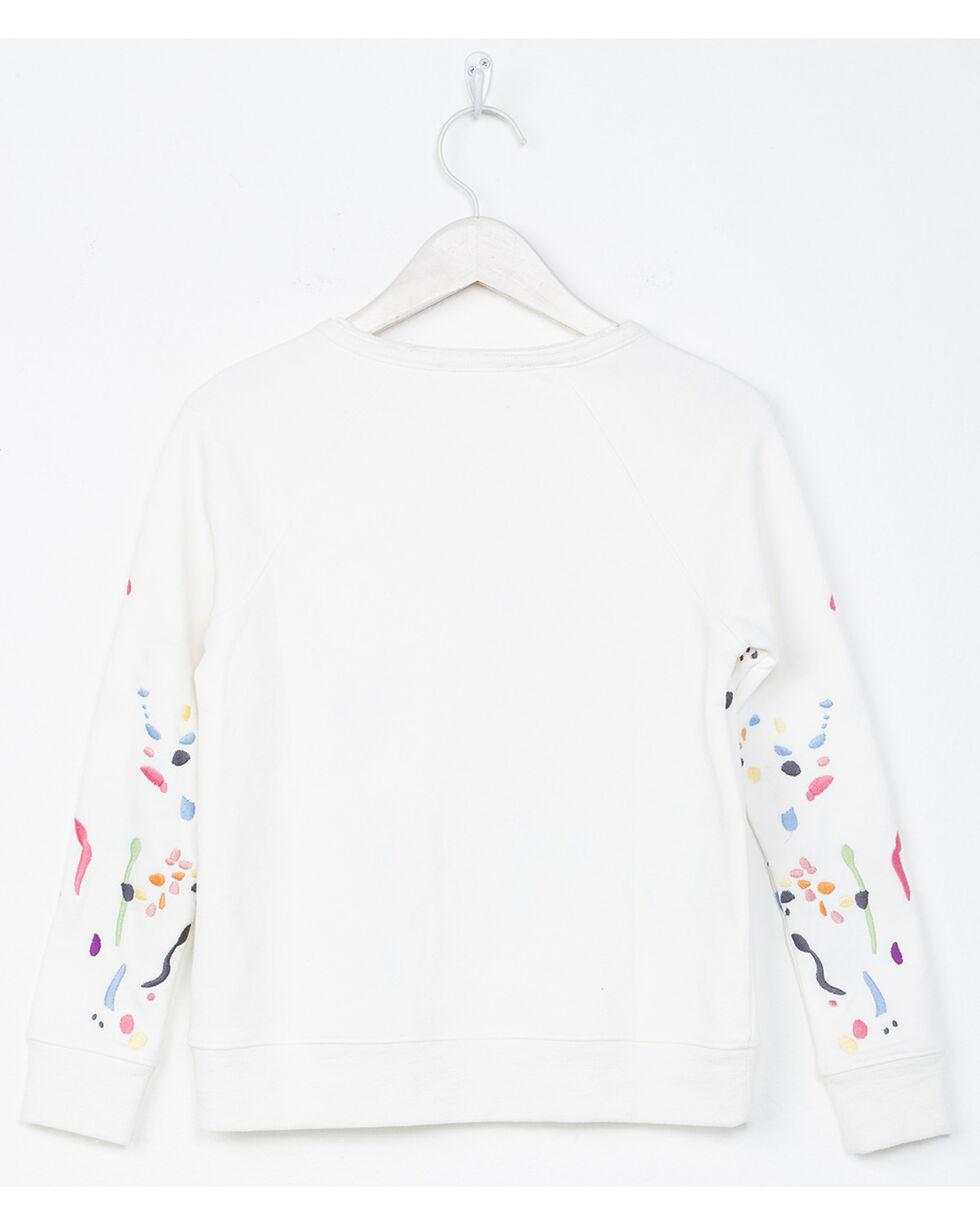 Miss Me Girls' White Paint Splatter Sweatshirt , White, hi-res