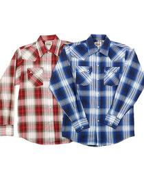 Ely Cattleman Boys' Assorted Textured Plaid Long Sleeve Shirt, , hi-res