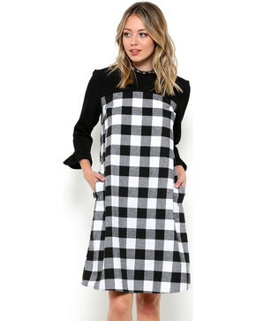 CES FEMME Women's Black Plaid Two Tone Dress , Black, hi-res