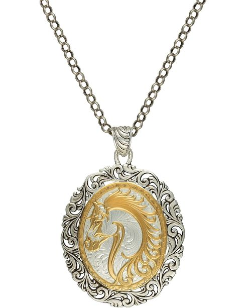 Montana Silversmiths Women's Portrait of a Cowgirl's Love Necklace, Silver, hi-res