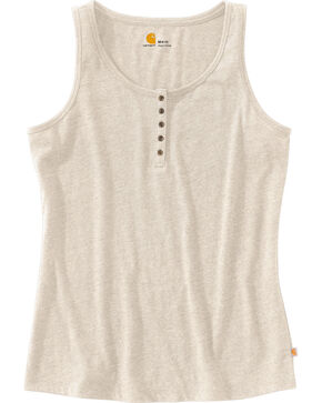 Carhartt Women's Lockhart Stretch Cotton Henley Tank Top, Lt Brown, hi-res