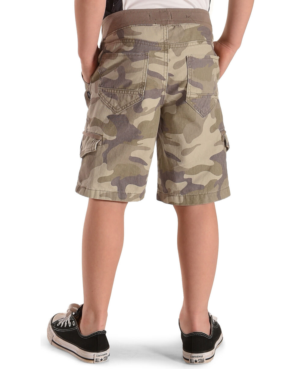 Silver Boys' Camo Drawstring Cargo Shorts, Green, hi-res