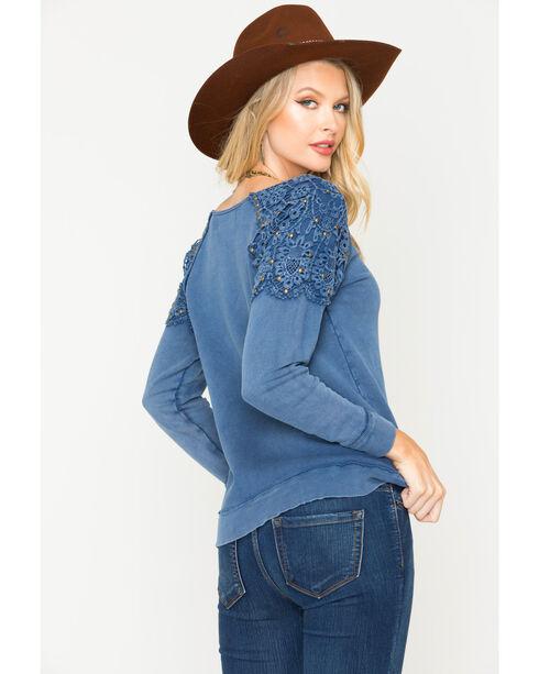 Vintage Havana Women's Crochet Shoulder Sweatshirt, Indigo, hi-res