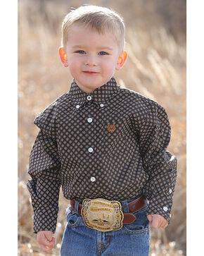 Cinch Toddler Boys' Match Dad Printed Plain Weave Long Sleeve Button Down Shirt, Black, hi-res