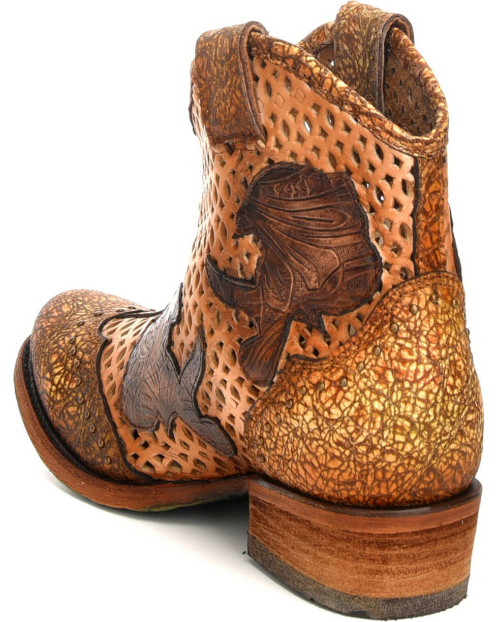 Corral Women's Galapagos Laser Cutout Short Western Boots - Round Toe, Honey, hi-res
