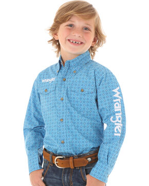 Wrangler Boys' Blue Geo Print Logo Long Sleeve Shirt, Blue, hi-res