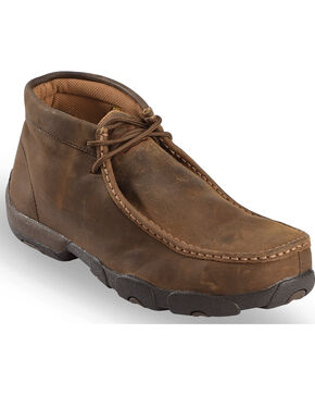 Twisted X Men's Driving Mocs Steel Toe Lace-Up Work Shoes, Brown, hi-res
