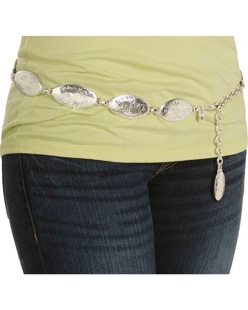 Tony Lama Women's Oval Concho Chain Belt, Silver, hi-res