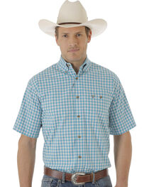 Wrangler Men's Turquoise & White Plaid 20X Short Sleeve Shirt , , hi-res