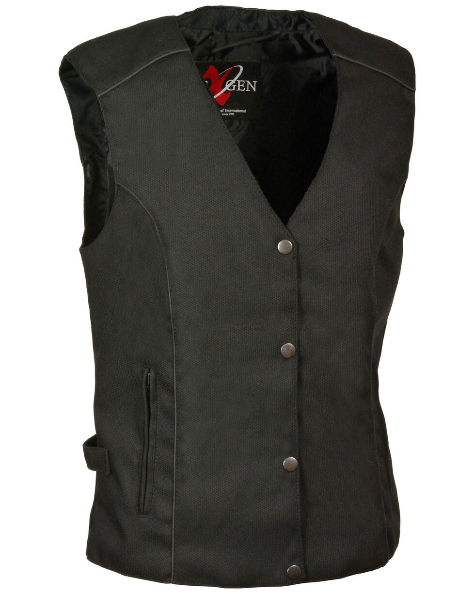 Milwaukee Leather Women's Stud & Wing Embroidered Vest , Black, hi-res