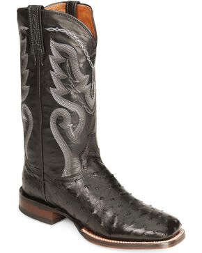 Dan Post Men's Full-Quill Ostrich Chandler Western Boots, Black, hi-res