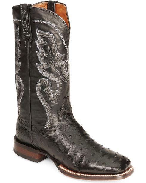 Dan Post Men's Full-Quill Ostrich Chandler Western Boots, Black, hi-res