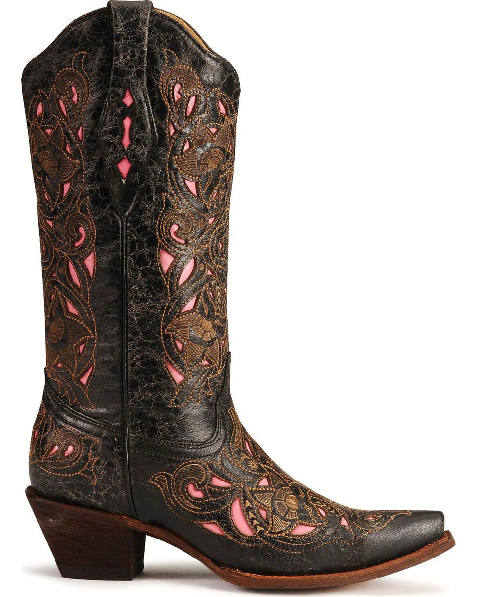 Corral Women's Inlay Snip Toe Western Boots, Black, hi-res
