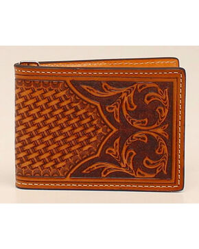 Nocona Floral Bi-Fold Money Clip Wallet, Natural, hi-res