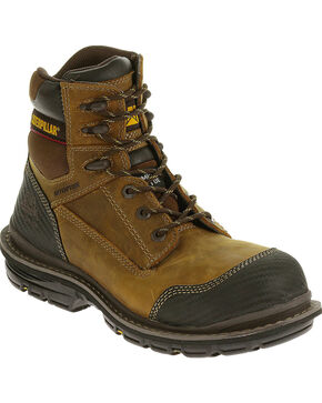 "CAT Men's Fabricate 6"" Tough WP Composite Toe Work Boots, Light Brown, hi-res"