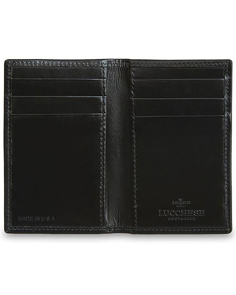 Lucchese Men's Black Leather Vertical Bi-Fold Wallet, Black, hi-res