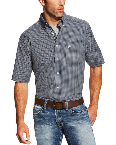 Ariat Men's Check Patterned Short Sleeve Shirt, Navy, hi-res