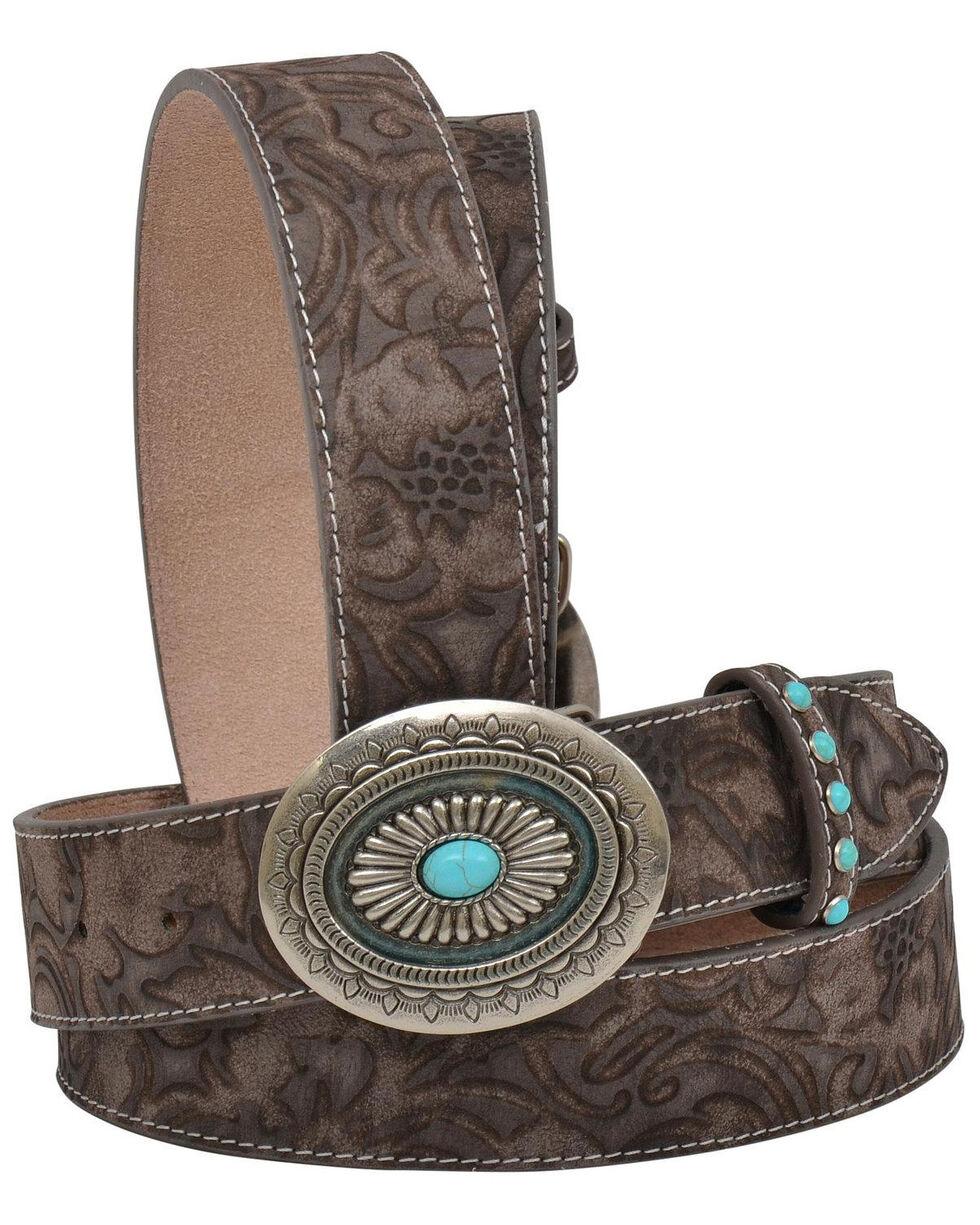 Angel Ranch Women's Tan Floral Print Leather Belt , Tan, hi-res