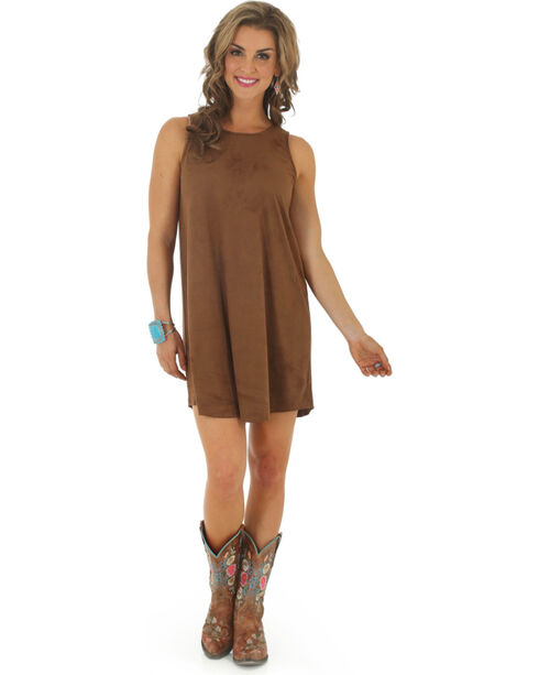 Wrangler Women's Faux Suede Shift Dress, Brown, hi-res