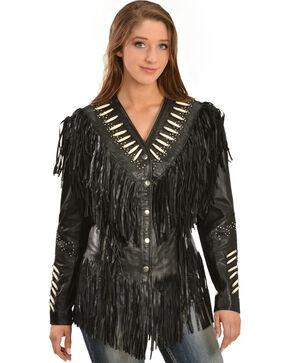 Liberty Wear Women's Fringe & Bone Leather Jacket, Black, hi-res
