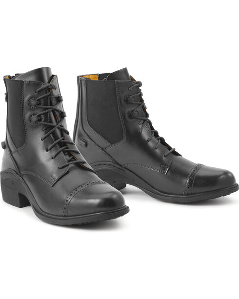 Ovation Women's Synergy Back Zip Black Paddock Boots, Black, hi-res