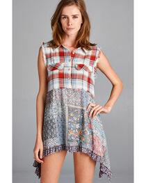Hyku Women's Russet Plaid Mix Print Shirt , , hi-res