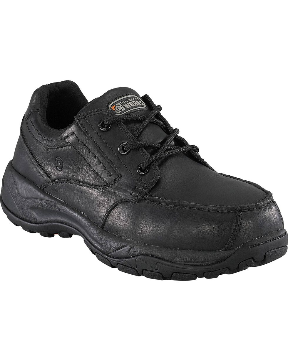 Rockport Works Extreme Light Casual 3-Eye Oxford Work Shoes - Composite Toe, Black, hi-res