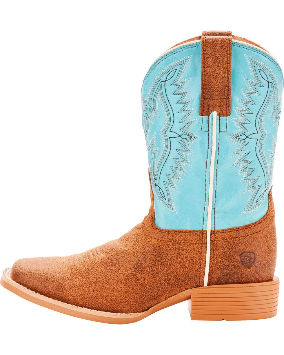 Ariat Boys' Bristo Tan Tilt Bustin Blue Cowboy Boots - Square Toe, Tan, hi-res