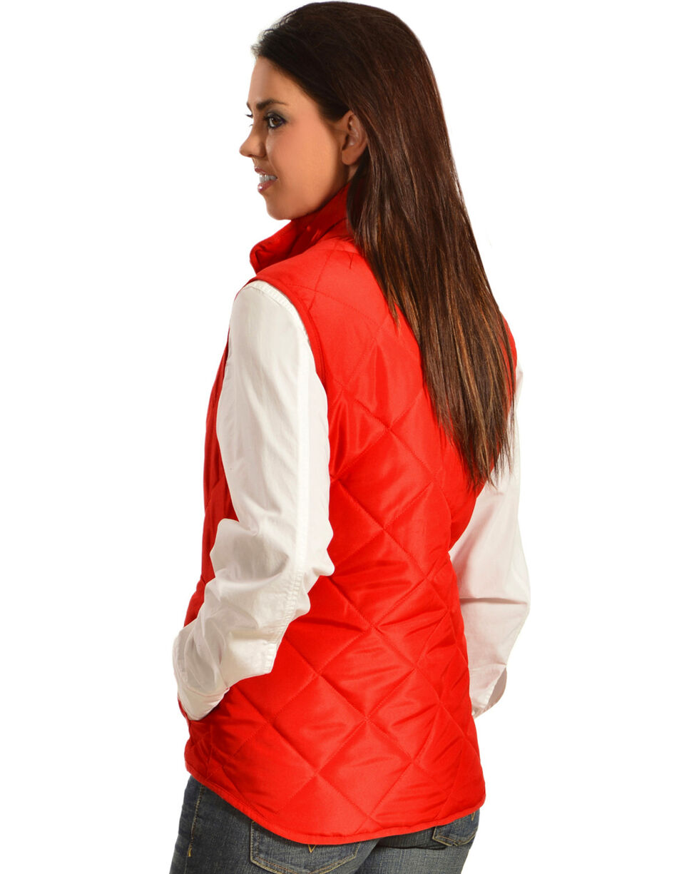 Jane Ashley Women's Diamond Quilted Vest, Red, hi-res