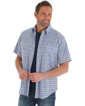 Wrangler Men's Purple Wrinkle-Resist Plaid Shirt , Purple, hi-res