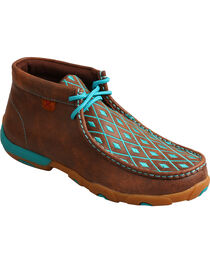 Twisted X Women's Diamond Stitched Lace-Up Moccasins, , hi-res