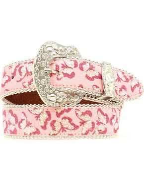 Blazin Roxx Girls' Butterfly Embroidered Belt, Pink, hi-res