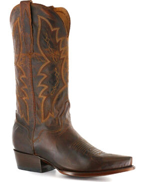 El Dorado Men's Snip Toe Distressed Goat Western Boots, Brown, hi-res