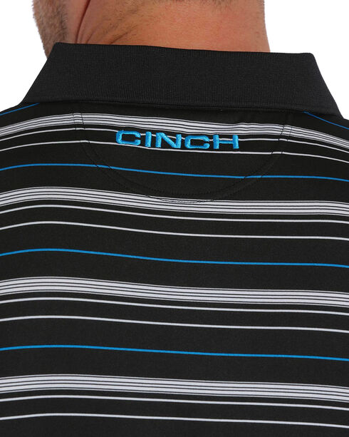 Cinch Men's ArenaFlex Striped Tech Polo, Black, hi-res